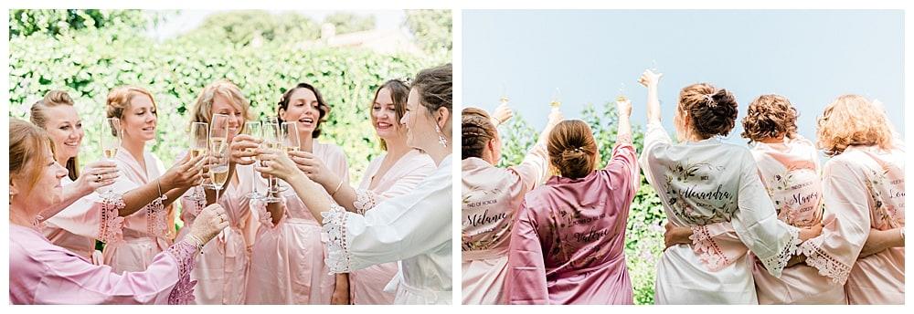 mariée et ses témoins avec champagne et kimono personnalisée sur la Cote d'Azur