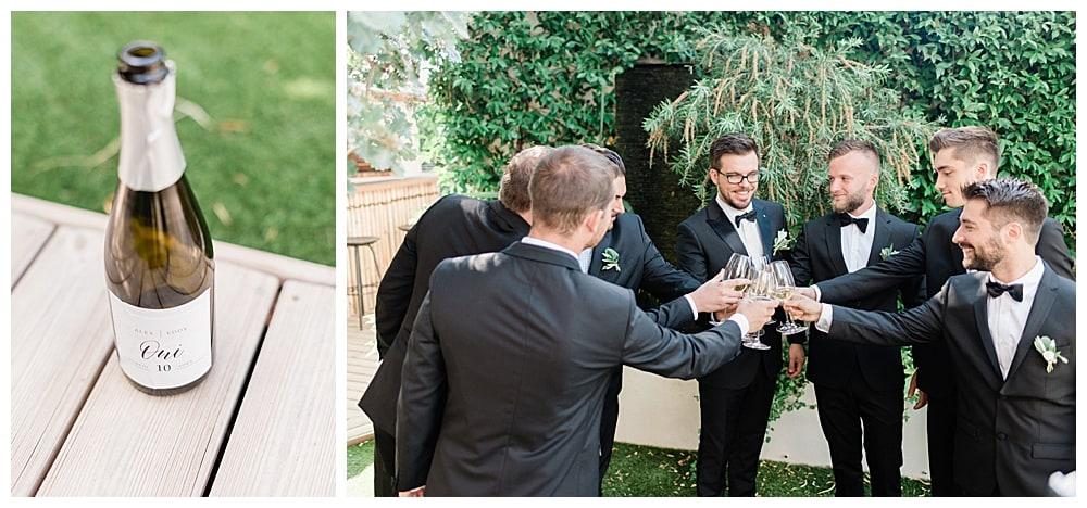 marié et ses groommen garçon d'honneur sur la cote d'azur