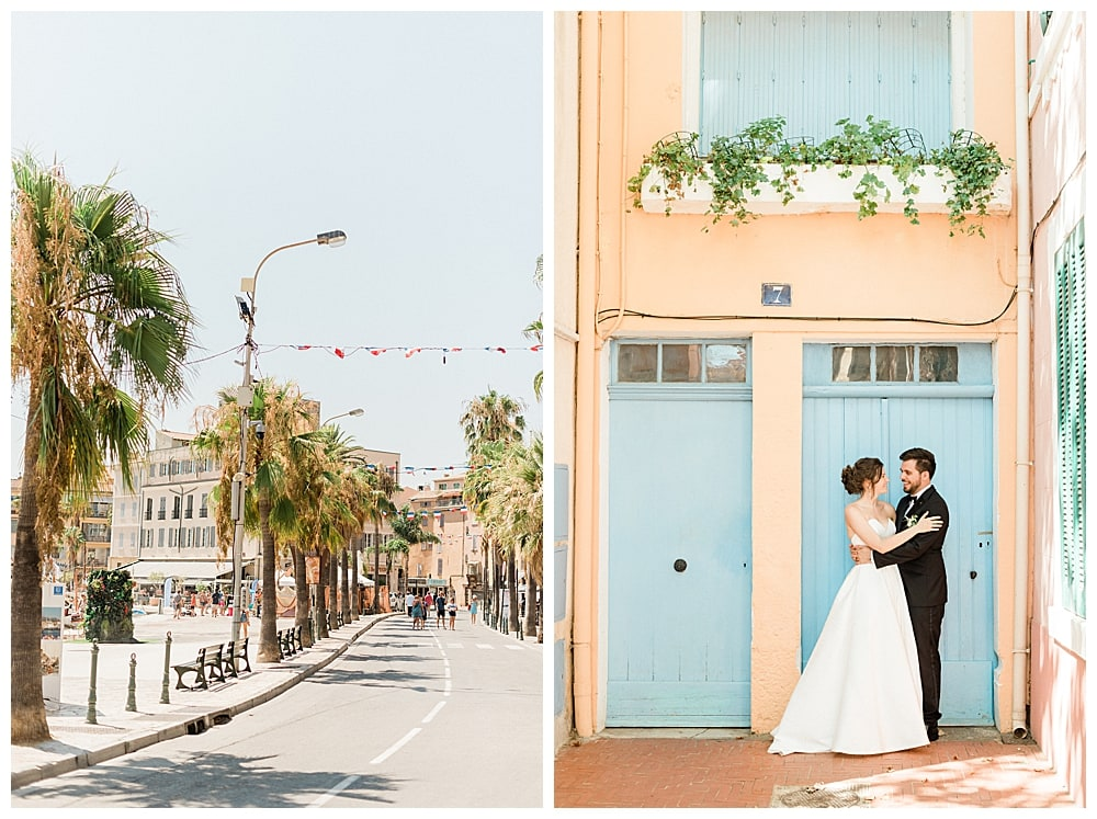 couple de marié dans les petites rues sur la cote d'azur