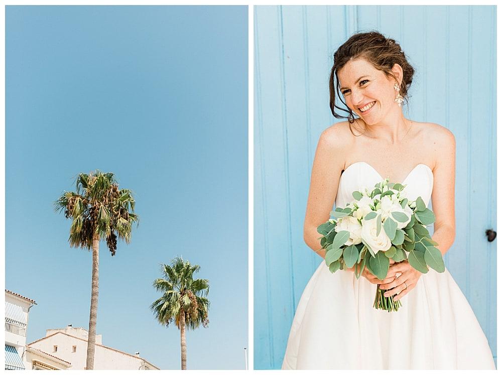 mariée et son bouquet sur la cote d'azur